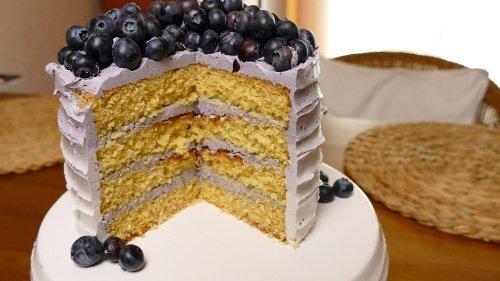 Kokos-Blaubeer-Torte im Ombré Look
