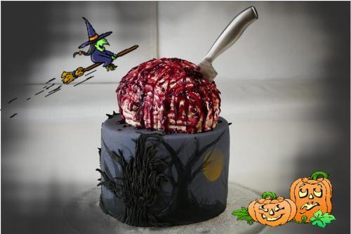 Halloween-Motivtorte / Arbeits- und Rezepteplan