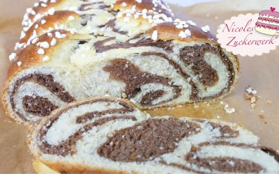 Marmorierter Hefezopf mit Nutella I süßer Hefezopf