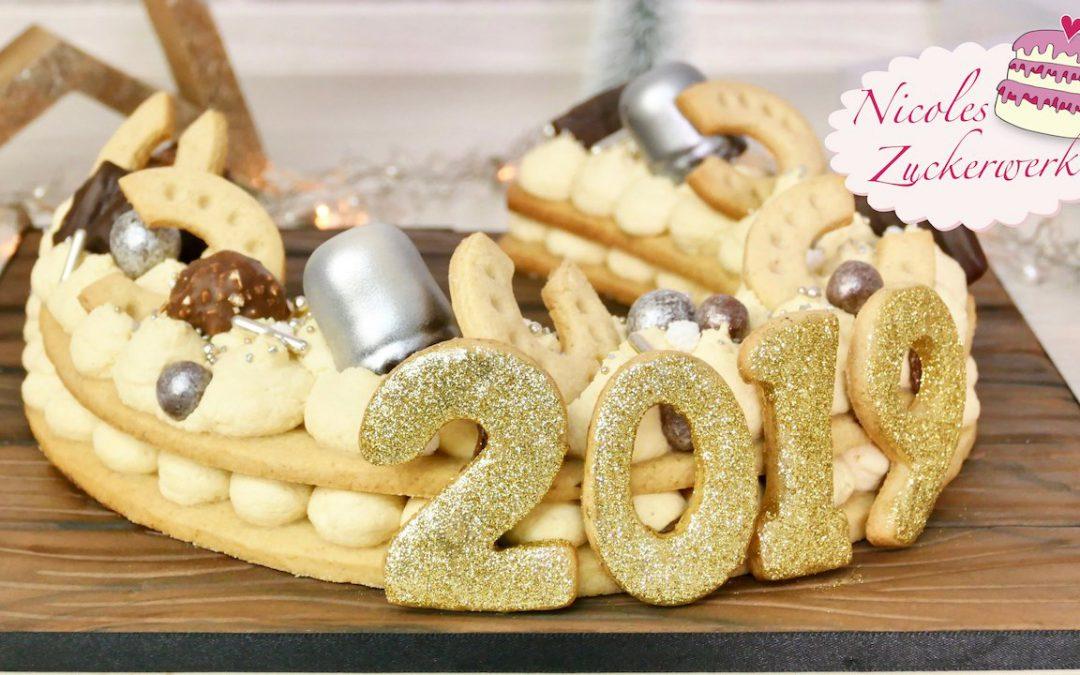 Hufeisen-Glückstorte für Silvester mit Mocca-Mascarpone-Creme I Trendcake 2018