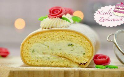 Pistazien Biskuitrolle mit Marzipan