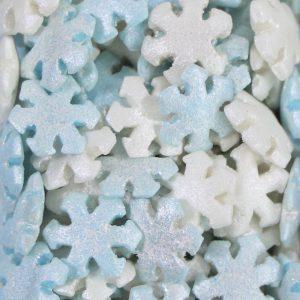 Nicoles Zuckerwerk Schneeflocken blau weiss Tortendekoration