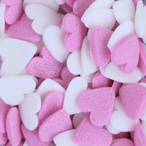 Nicoles Zuckerwerk Herzen Pink Weiss