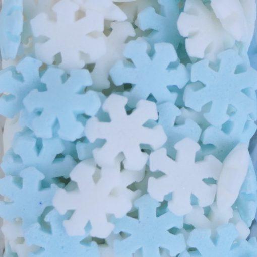 Nicoles Zuckerwerk Zuckerstreusel Schneeflocken blau weiss