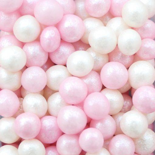 Nicoles Zuckerwerk Zuckerstreusel Softperlen rosa weiss